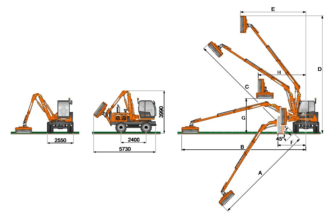 geometrie ausleger t - ilf s1500 - energreen germany - maschinen für den professionellen einsatz