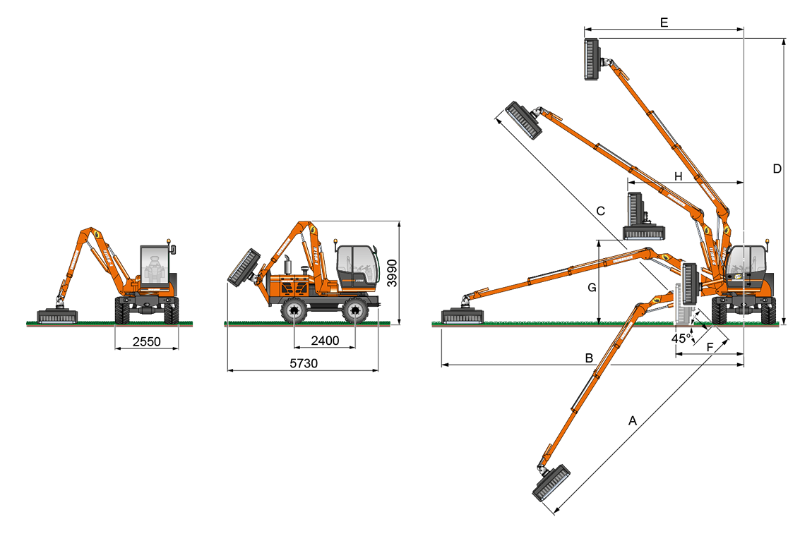 ilf s1500 - geometrie ausleger t - energreen germany - die technik für die profis in der grünpflege