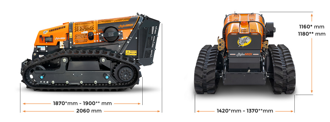 robomidi - abmessungen - robo multifunktion - energreen germany - die technik fur die profis in der grunpflege